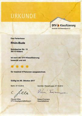 Rhönbude - DTV - Zertifikat - 4 Sterne