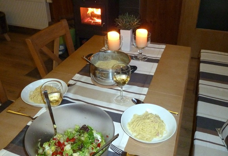 Rhönbude - Essbereich Abendessen