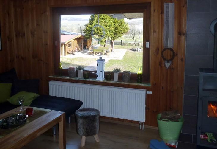 Rhönbude - Wohnstube Ausblick Garten