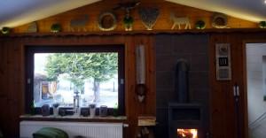 Rhönbude - Wohnzimmer Garten Ausblick